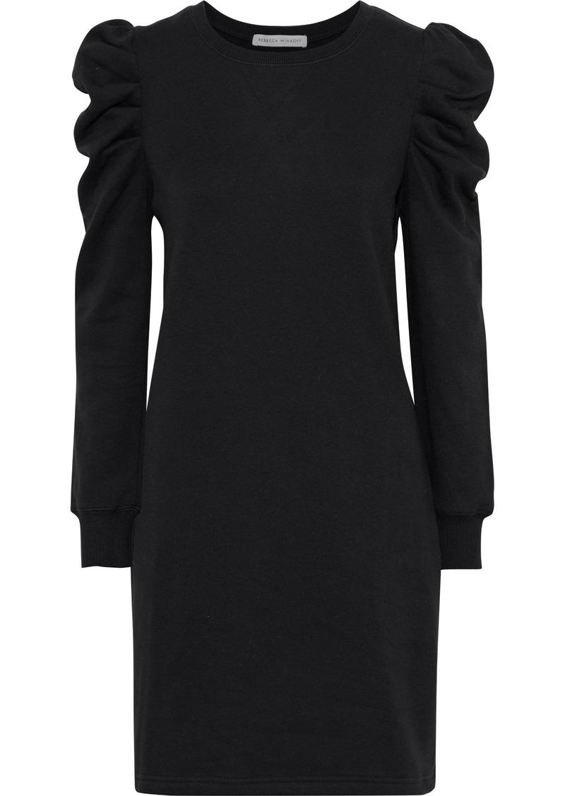 Rebecca Minkoff Woman Janine Gathered Cotton-blend Fleece Mini Dress Black