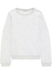 Rebecca Minkoff Woman Jenn Cutout Embroidered Mélange Fleece Sweater Light Gray
