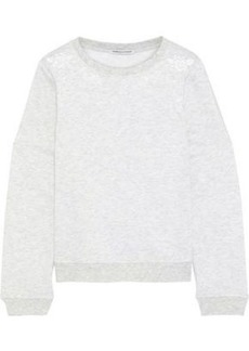 Rebecca Minkoff Woman Jenn Cutout Embroidered Mélange Fleece Sweater Light Gray