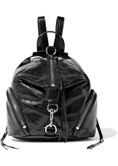 Rebecca Minkoff Woman Julian Convertible Cracked Glossed-leather Backpack Black