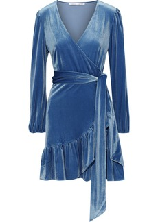 Rebecca Minkoff Woman Karis Ruffled Velvet Mini Wrap Dress Blue