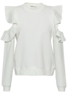Rebecca Minkoff Woman Keepsake Ruffle-trimmed Cold-shoulder Fleece Sweatshirt White