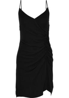 Rebecca Minkoff Woman Kinsley Ruched Georgette Mini Slip Dress Black