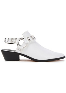 Rebecca Minkoff Woman Korlyn Studded Glossed Textured-leather Mules White