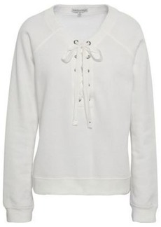 Rebecca Minkoff Woman Lace-up Fleece Sweatshirt Off-white