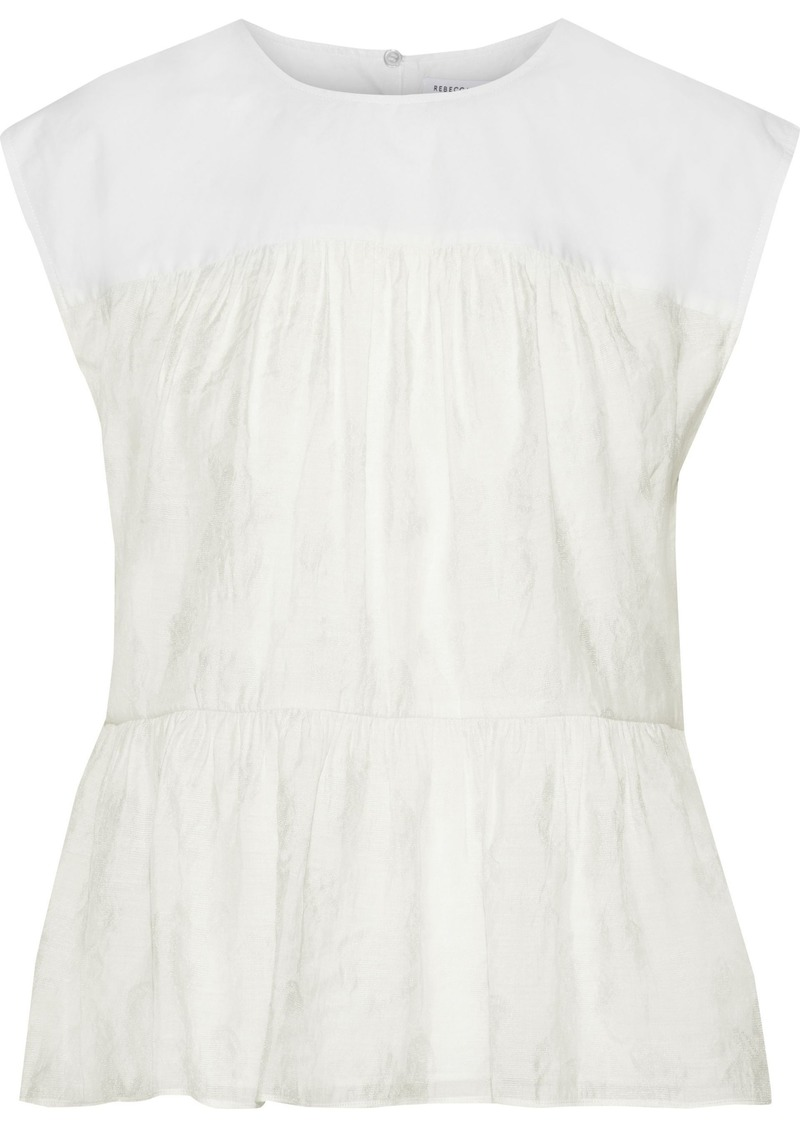 Rebecca Minkoff Woman Lanzy Poplin-paneled Modal-blend Jacquard Peplum Top Off-white