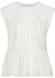 Rebecca Minkoff Woman Lanzy Poplin-paneled Modal-blend Jacquard Peplum Top Off-white