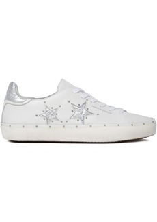 Rebecca Minkoff Woman Laser-cut Smooth And Metallic Textured-leather Sneakers Silver