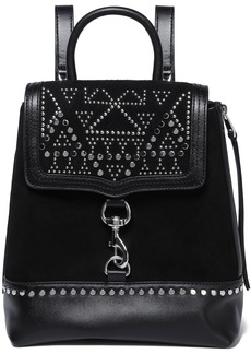 Rebecca Minkoff Woman Leather-paneled Studded Suede Backpack Black