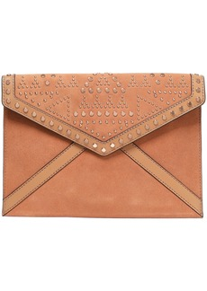 Rebecca Minkoff Woman Leather-paneled Studded Suede Envelope Clutch Tan