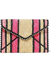 Rebecca Minkoff Woman Leo Striped Woven Straw Envelope Clutch Pink