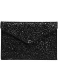 Rebecca Minkoff Woman Leo Zip-embellished Glittered Faux Leather Clutch Black