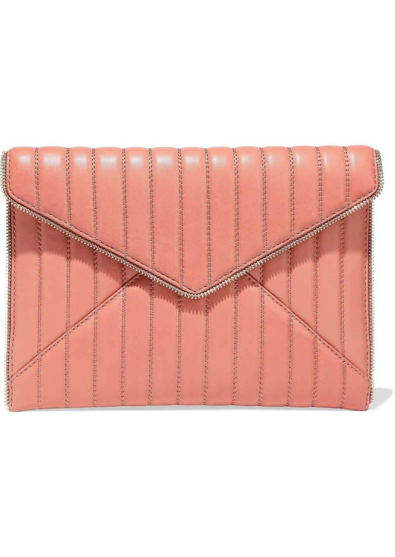Rebecca Minkoff Woman Leo Zip-embellished Quilted Leather Envelope Clutch Antique Rose