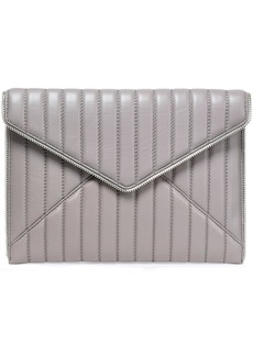 Rebecca Minkoff Woman Leo Zip-embellished Quilted Leather Envelope Clutch Gray