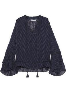 Rebecca Minkoff Woman Liza Tasseled Fil Coupé Silk And Cotton-blend Blouse Navy