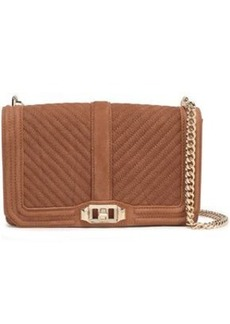 Rebecca Minkoff Woman Love Chain-trimmed Quilted Textured-nubuck Shoulder Bag Camel
