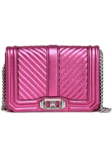 Rebecca Minkoff Woman Love Small Quilted Metallic Leather Shoulder Bag Magenta