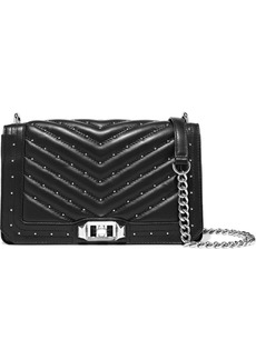 Rebecca Minkoff Woman Studded Quilted Leather Shoulder Bag Black