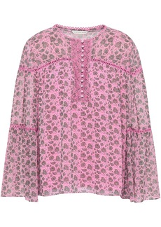 Rebecca Minkoff Woman Luca Crochet-trimmed Floral-print Georgette Blouse Pink