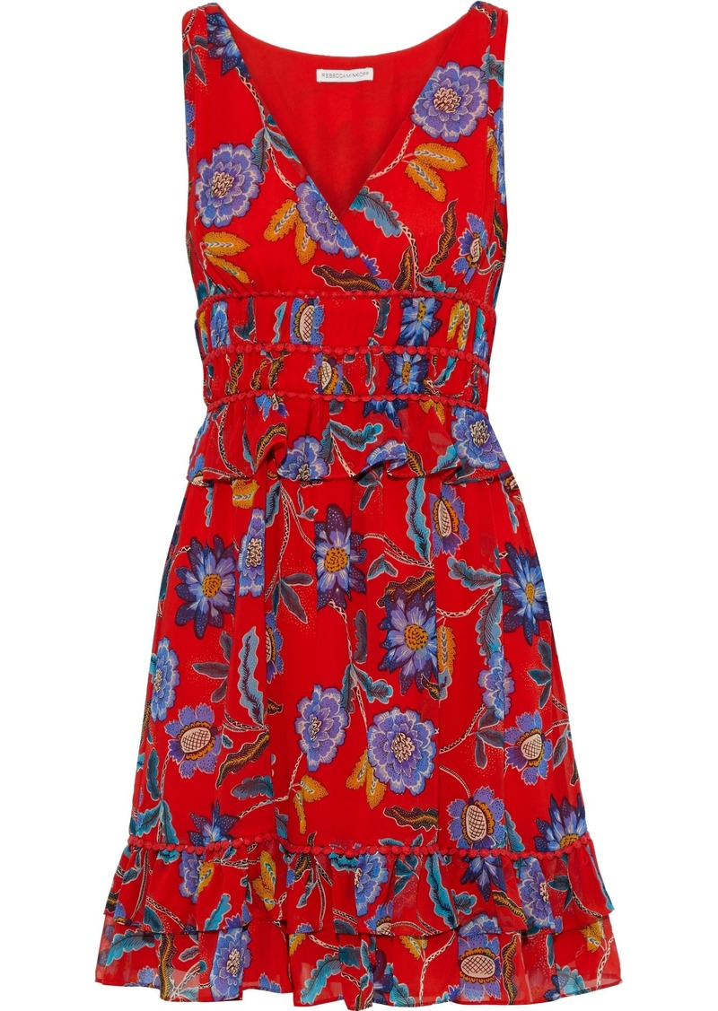 Rebecca Minkoff Woman Lucille Ruffle-trimmed Floral-print Chiffon Mini Dress Tomato Red