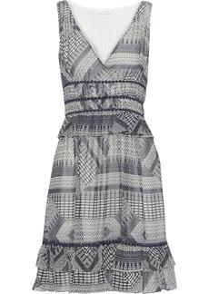 Rebecca Minkoff Woman Lucille Ruffle-trimmed Printed Georgette Mini Dress Navy