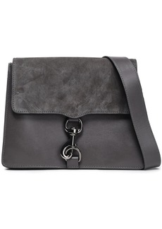 Rebecca Minkoff Woman Mab Suede-paneled Leather Shoulder Bag Dark Gray