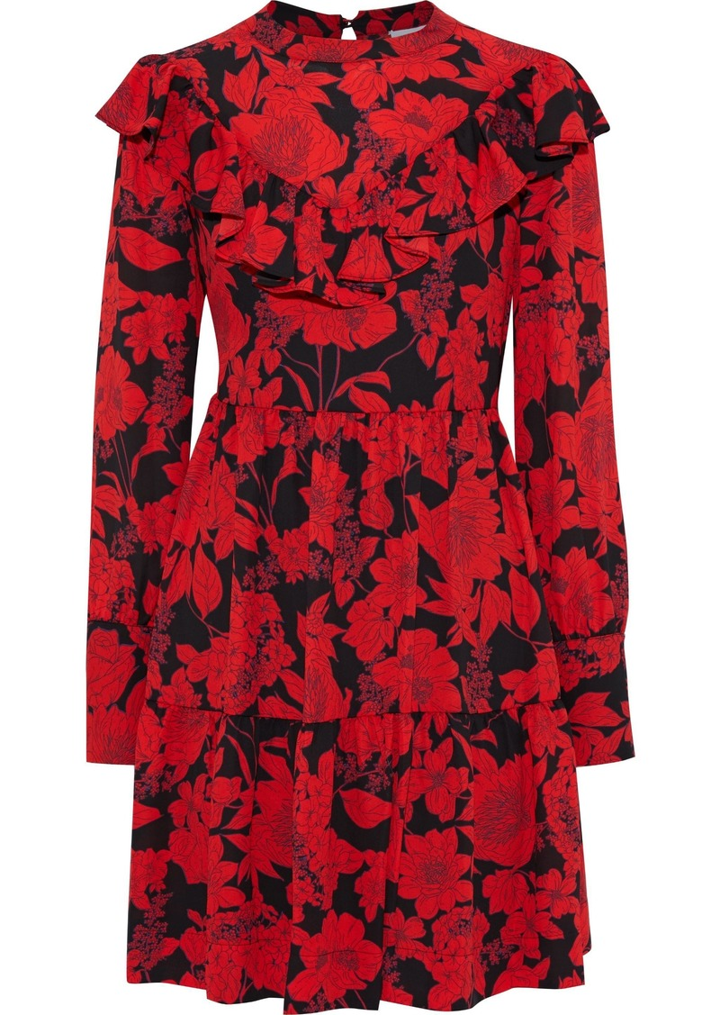 Rebecca Minkoff Woman Margaret Floral-print Crepe De Chine Mini Dress Red