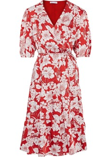 Rebecca Minkoff Woman Mary Floral-print Satin-twill Wrap Dress Red