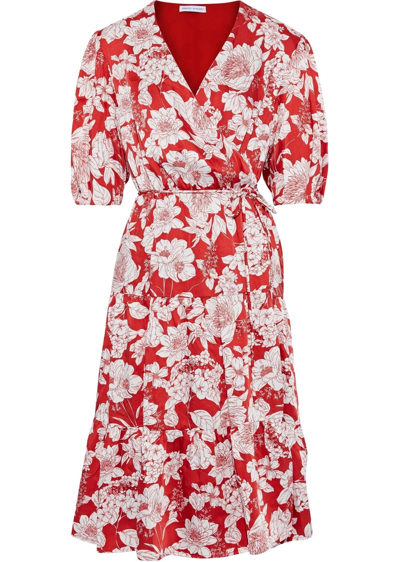 Rebecca Minkoff Woman Mary Floral-print Satin-twill Wrap Dress Red