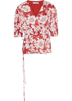 Rebecca Minkoff Woman Mary Floral-print Satin-twill Wrap Top Red