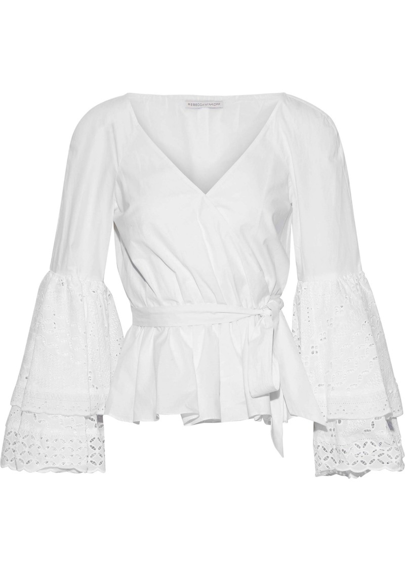 Rebecca Minkoff Woman Melly Broderie Anglaise Cotton-poplin Peplum Wrap Top White