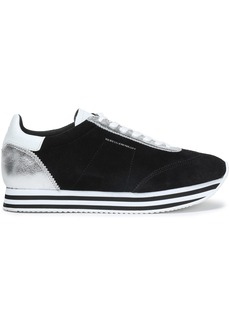 Rebecca Minkoff Woman Metallic Leather-paneled Suede Sneakers Black