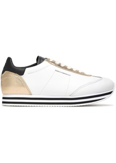 Rebecca Minkoff Woman Metallic-paneled Leather Sneakers White
