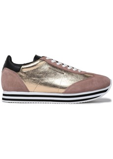 Rebecca Minkoff Woman Metallic Textured-leather And Suede Sneakers Platinum