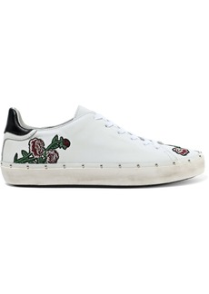 Rebecca Minkoff Woman Michell Embellished Distressed Leather Sneakers White