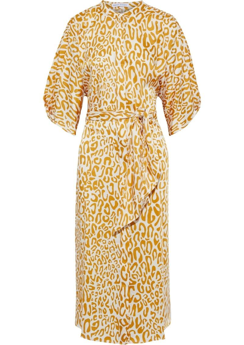 Rebecca Minkoff Woman Nicholette Belted Printed Satin-twill Midi Dress Animal Print