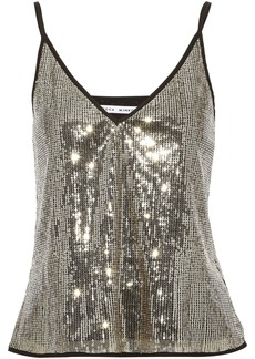 Rebecca Minkoff Woman Nora Crepe-trimmed Sequined Tulle Camisole Gold