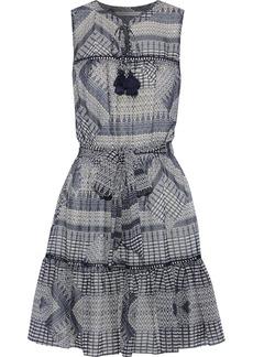 Rebecca Minkoff Woman Open Knit-trimmed Printed Chiffon Mini Dress Navy
