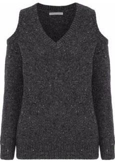 Rebecca Minkoff Woman Page Cold-shoulder Marled Merino Wool-blend Sweater Charcoal