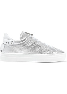 Rebecca Minkoff Woman Paloma Embellished Metallic Cracked-leather Sneakers Silver