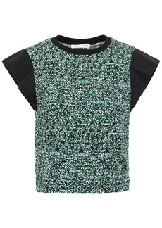 Rebecca Minkoff Woman Crepe-paneled Printed Shirred Cotton-poplin Top Green