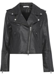 Rebecca Minkoff Woman Patti Cropped Coated-denim Biker Jacket Black