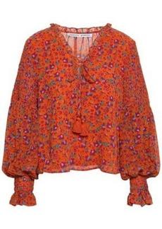 Rebecca Minkoff Woman Penelope Shirred Floral-print Gauze Blouse Bright Orange