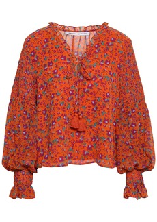 Rebecca Minkoff Woman Penelope Shirred Floral-print Gauze Blouse Bright Orange