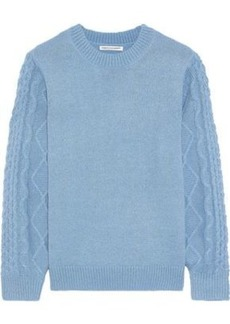 Rebecca Minkoff Woman Penny Cable Knit-paneled Knitted Sweater Blue