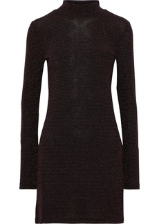 Rebecca Minkoff Woman Phoebe Metallic Ribbed-knit Mini Dress Black