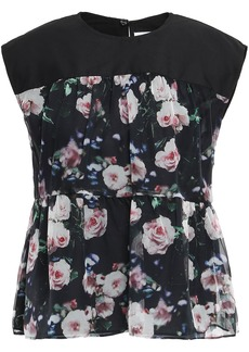 Rebecca Minkoff Woman Poplin-paneled Floral-print Organza Top Black