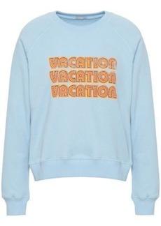 Rebecca Minkoff Woman Printed Cotton-blend Fleece Sweatshirt Sky Blue
