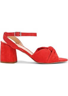 Rebecca Minkoff Woman Romy Twisted Suede Sandals Tomato Red