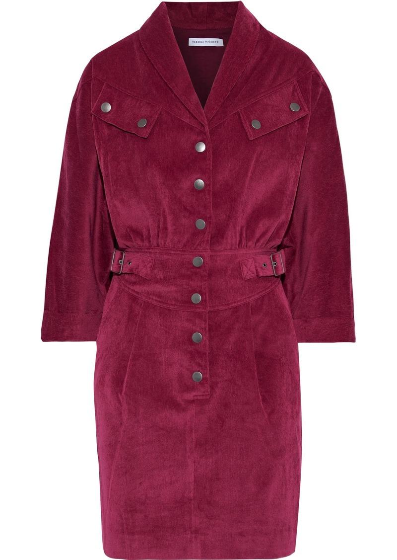 Rebecca Minkoff Woman Rosa Buckle-detailed Corduroy Mini Dress Grape